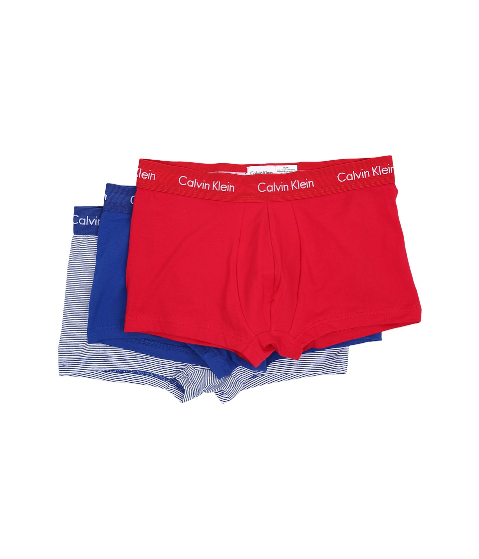 Calvin Klein Underwear - Cotton Stretch Low Rise Trunk 3-Pack NU2664 (Market Red/White Logo/White Body/Aztec Blue Stripe) Men