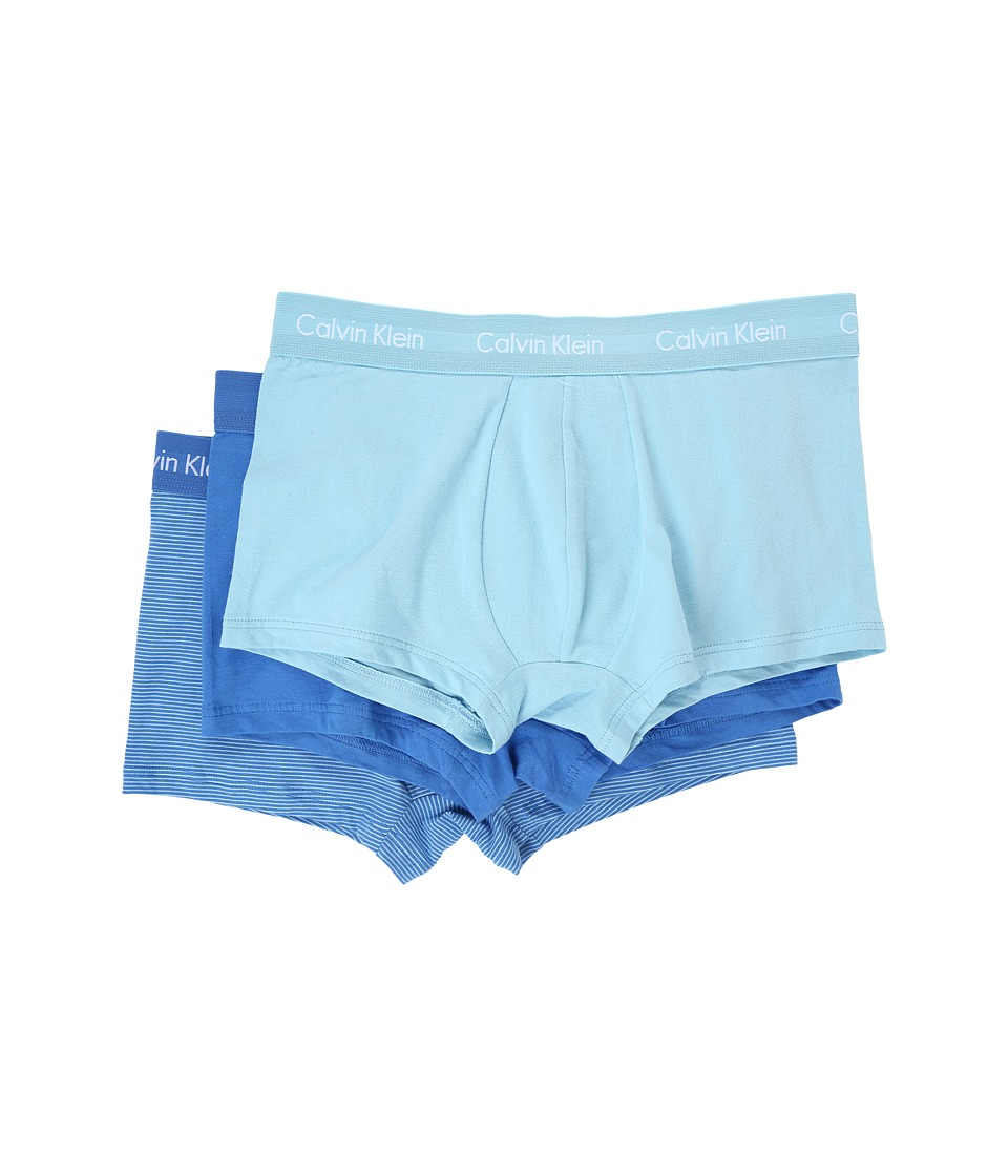 Calvin Klein Underwear - Cotton Stretch Low Rise Trunk 3-Pack NU2664 (Urban Blue/White Logo/Bridge Blue Stripe) Men's Underwear