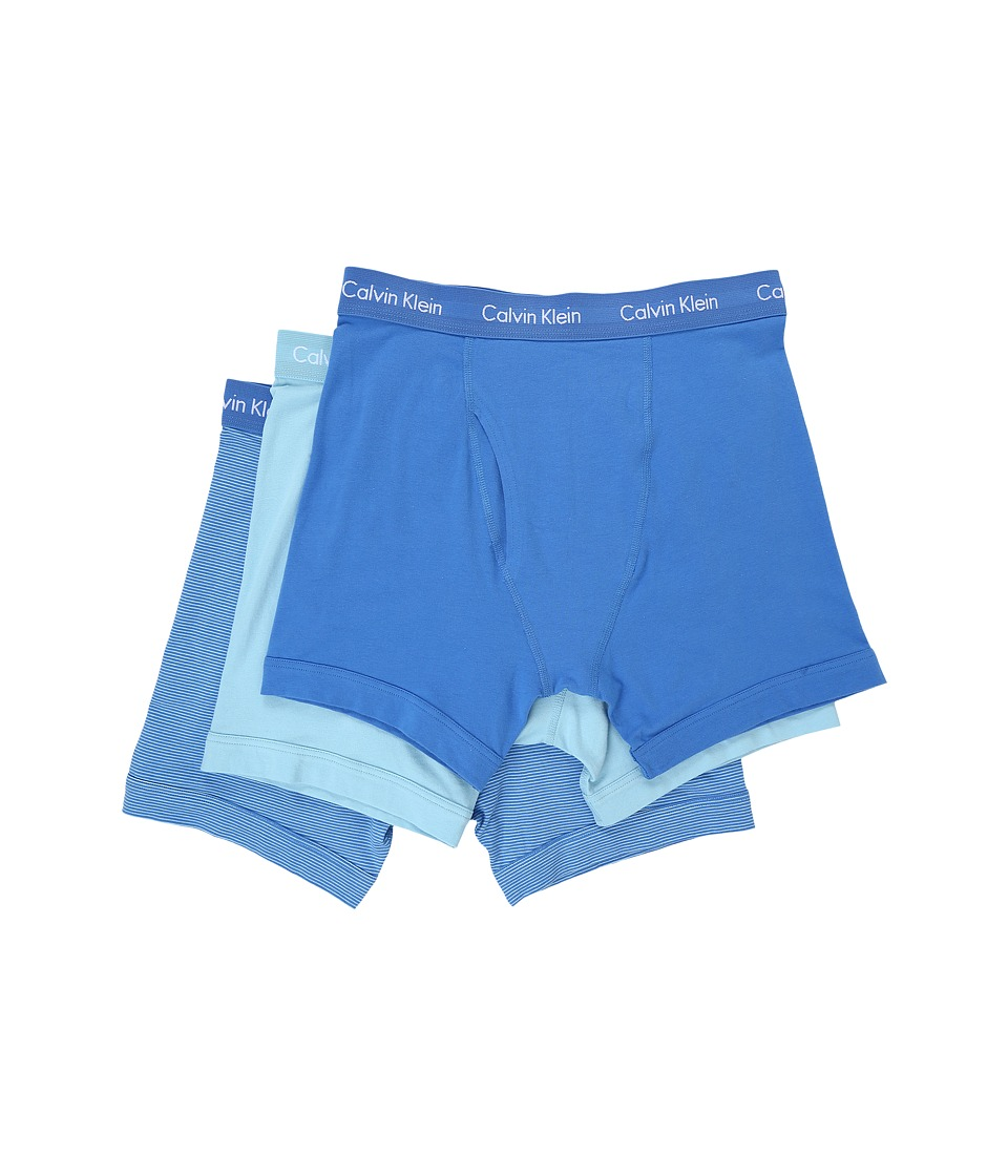 Calvin Klein Underwear - Cotton Stretch Boxer Brief 3-Pack NU2666 (Urban Blue/White Logo/Bridge Blue Stripe) Men
