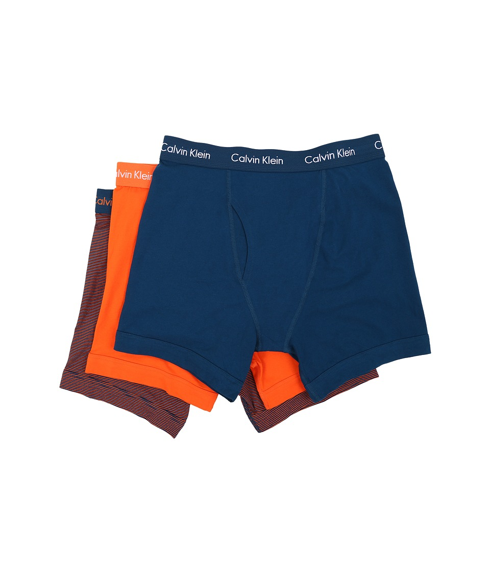 Calvin Klein Underwear - Cotton Stretch Boxer Brief 3-Pack NU2666 (Yale Blue/White Logo/Nara Orange Stripe) Men
