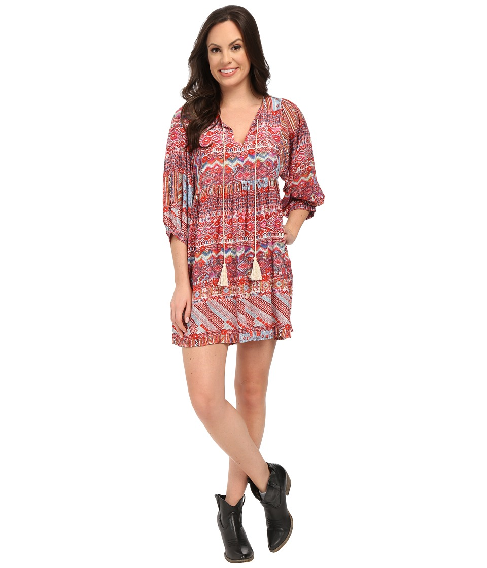Rock and Roll Cowgirl - Long Sleeve Dress D4-5776 (Red) Women's Dress