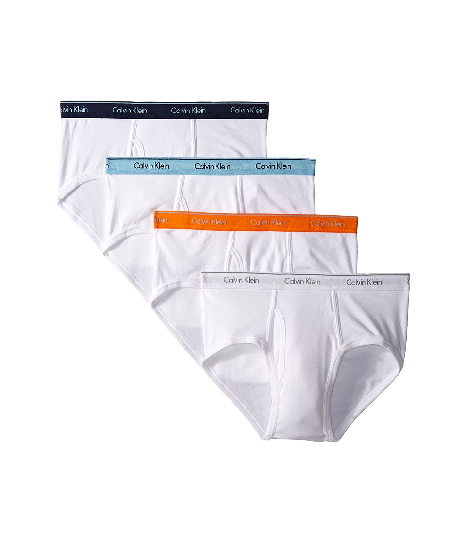 Calvin Klein Underwear - Cotton Classic Brief 4-Pack U4000 (White Body/Bridge Blue/Blue Shadow Logo/Vibrant Orange/Grey Logo) Men's Underwear