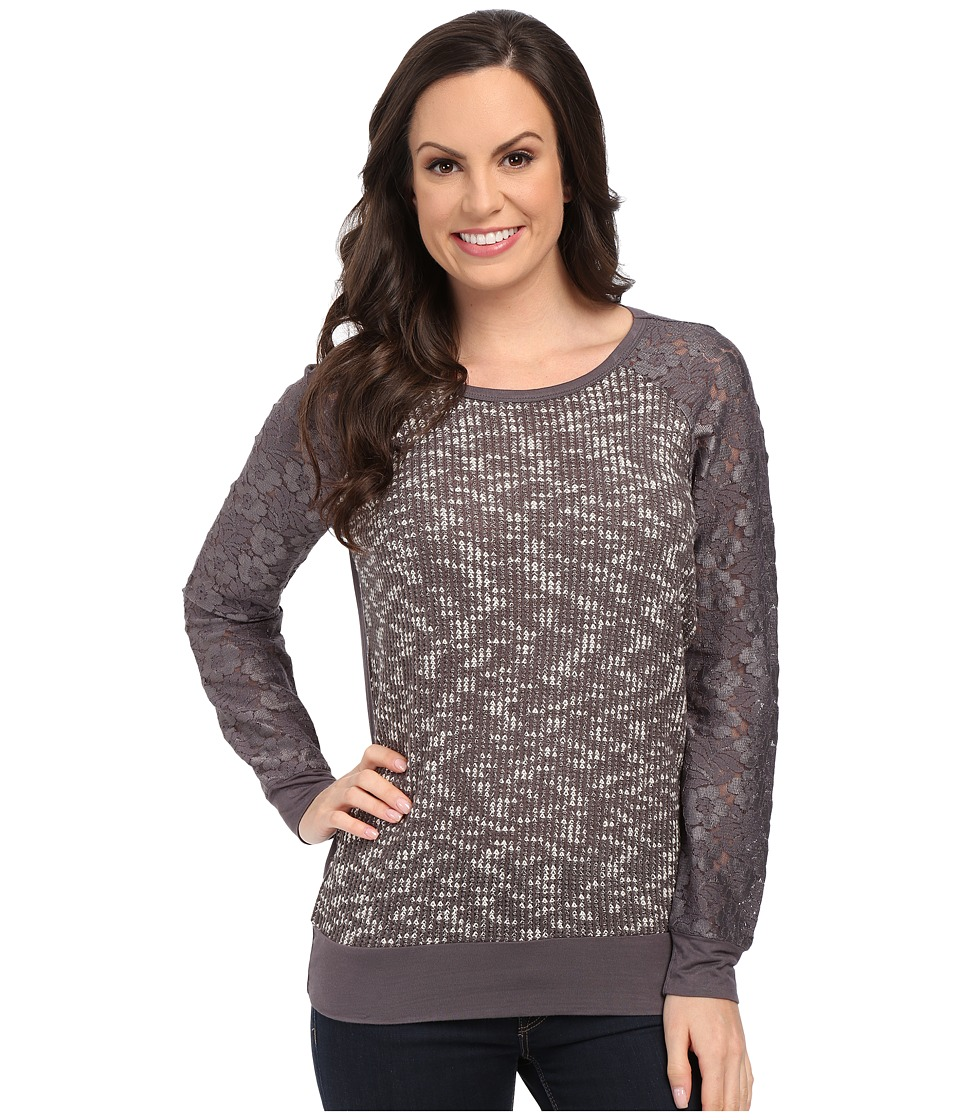 Rock and Roll Cowgirl - Long Sleeve Sweater 48-5096 (Charcoal) Women's Sweatshirt
