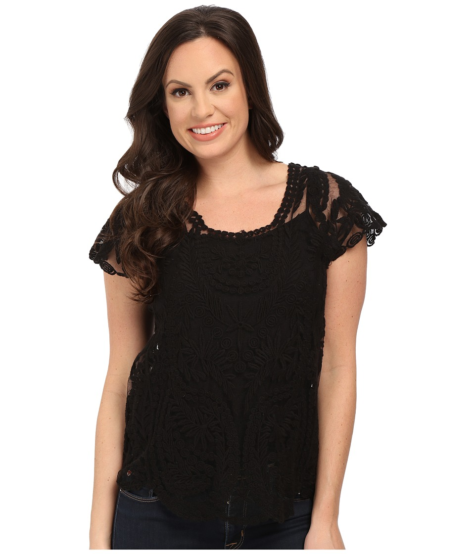 Rock and Roll Cowgirl - Short Sleeve Tulle Blouse B5-5361 (Black) Women's Blouse