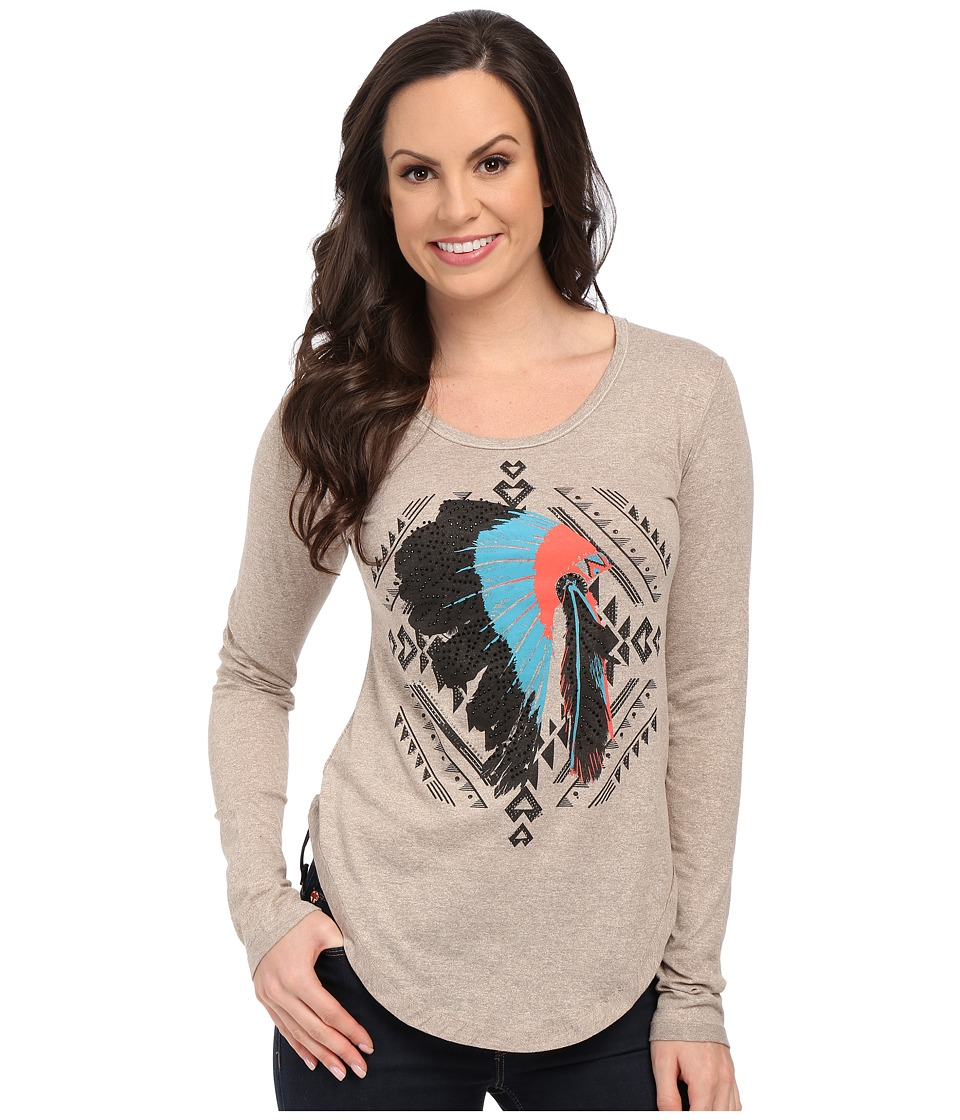 Rock and Roll Cowgirl - Long Sleeve Drapey Blouse 48T5039 (Taupe) Women's T Shirt