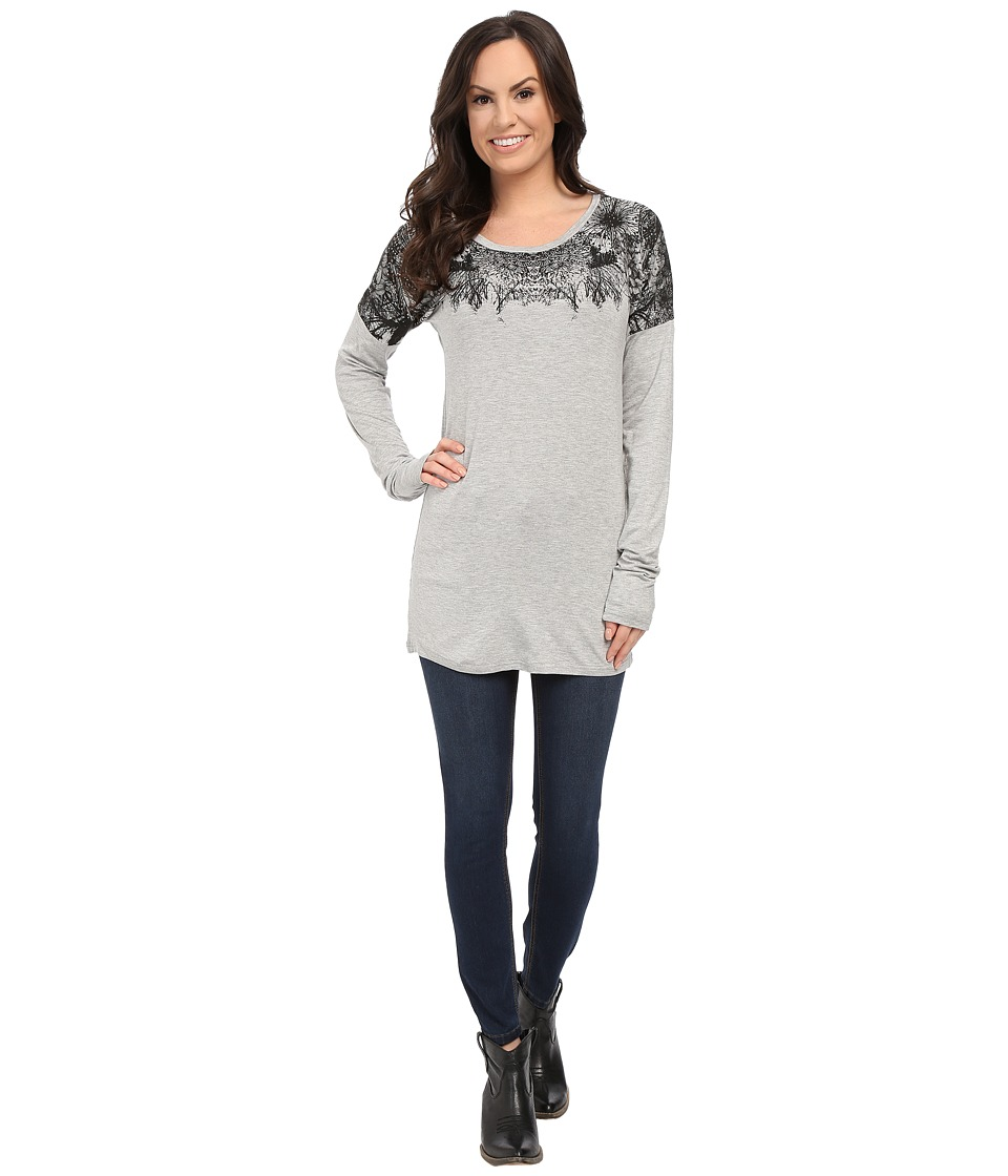 Rock and Roll Cowgirl - Long Sleeve Knit 48-5030 (Ash Grey) Women's T Shirt