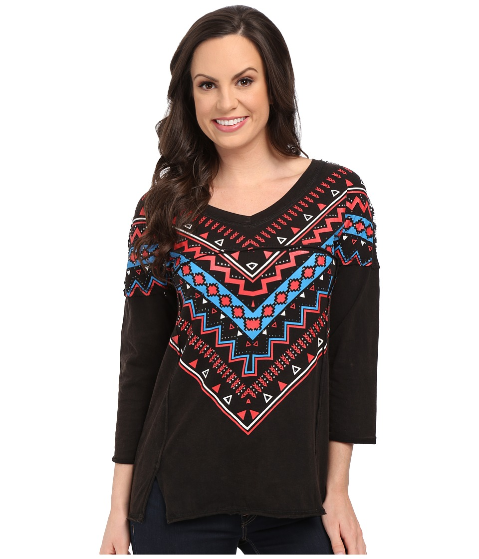 Rock and Roll Cowgirl - 3/4 Sleeve Top 48-5041 (Black) Women's Clothing