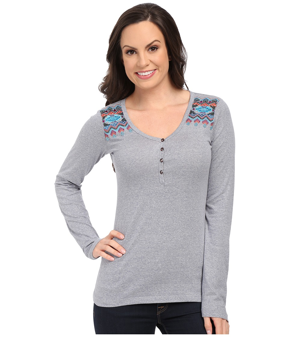 Rock and Roll Cowgirl - Long Sleeve Henley 48T5008 (Powder Blue) Women's T Shirt