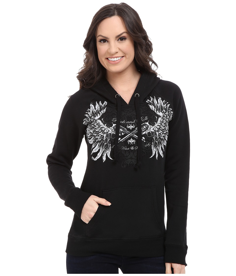 Rock and Roll Cowgirl - Long Sleeve Knit w/ Hooded 48H5035 (Black) Women's Sweatshirt
