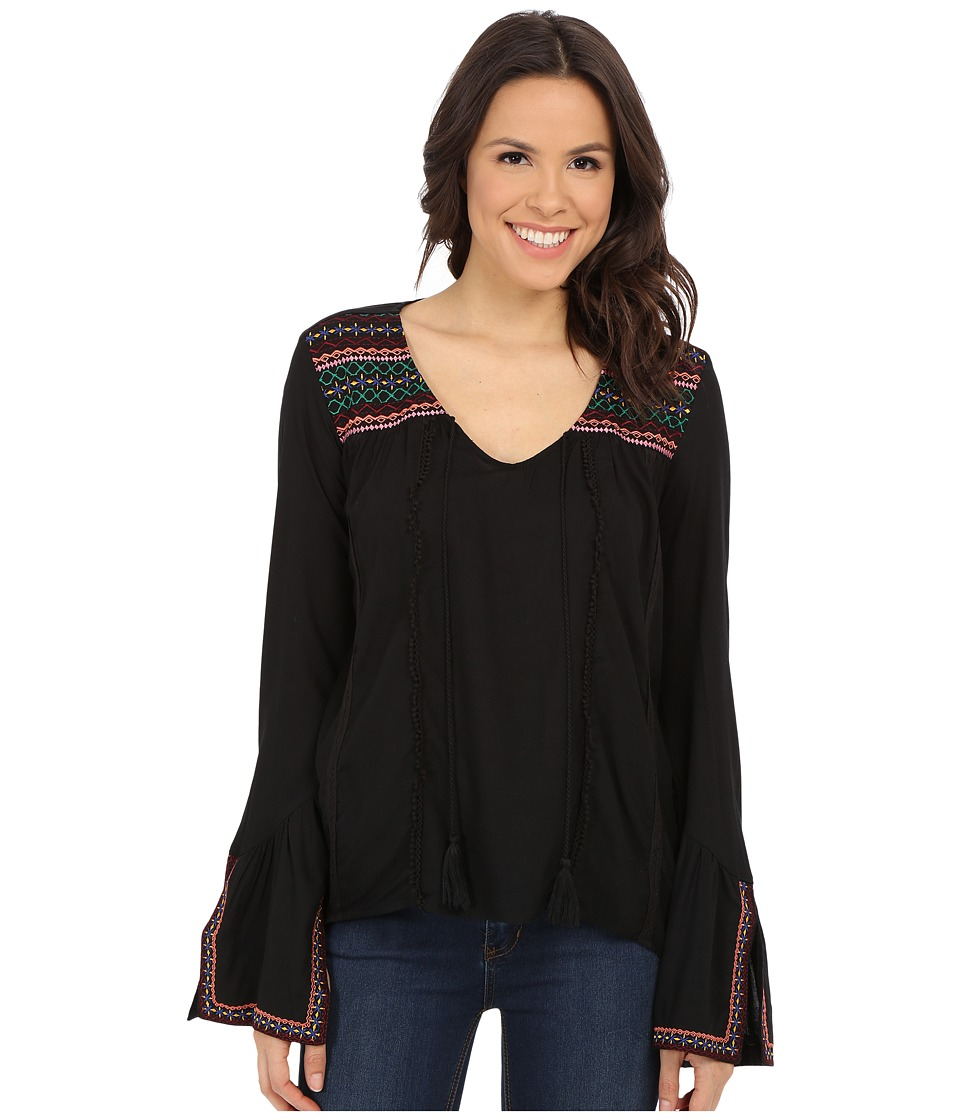 Rock and Roll Cowgirl - Long Sleeve Peasant Top B4-5369 (Black) Women's Blouse