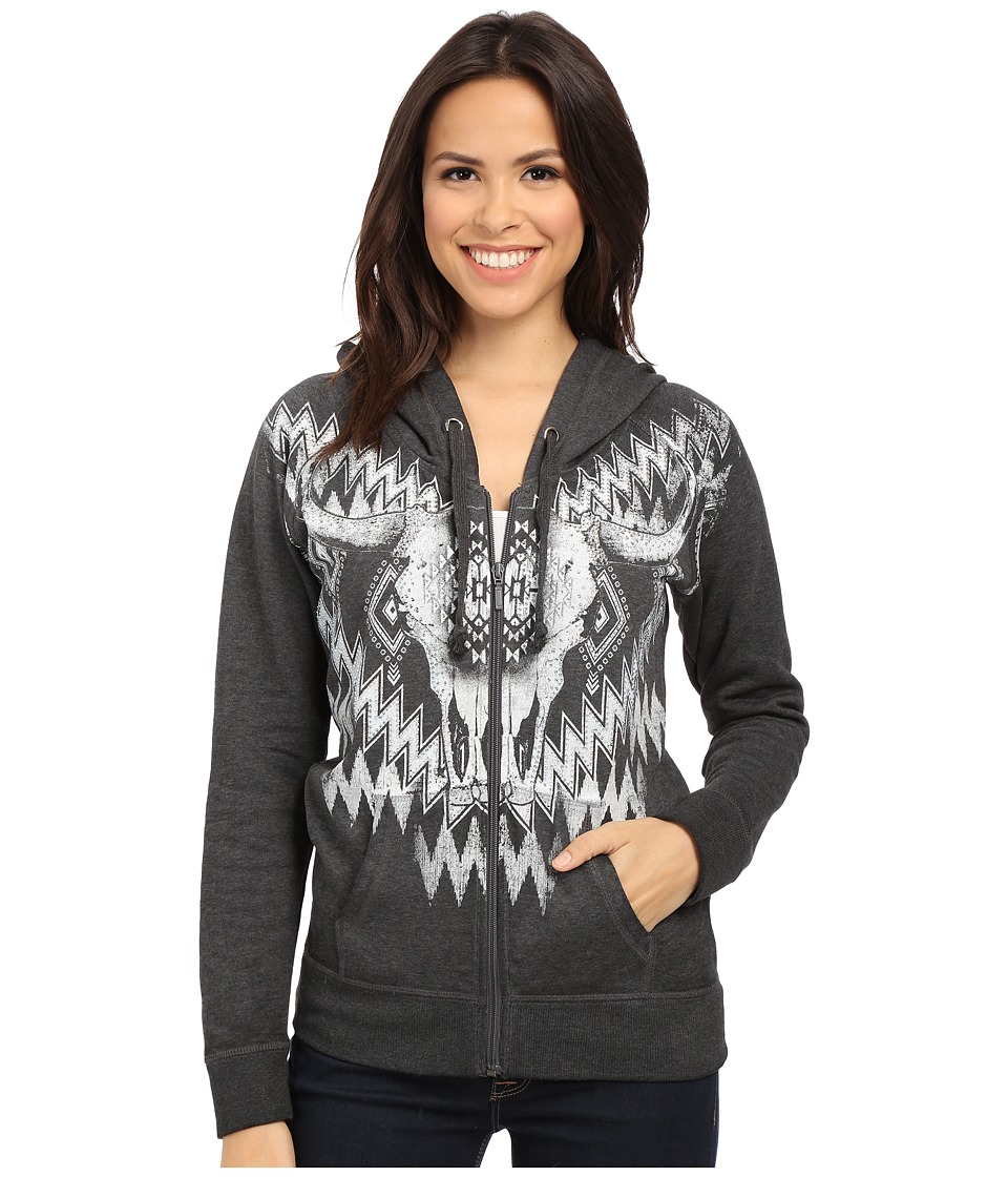 Rock and Roll Cowgirl - Long Sleeve Knit Hooded 48Z5036 (Charcoal) Women's Sweatshirt