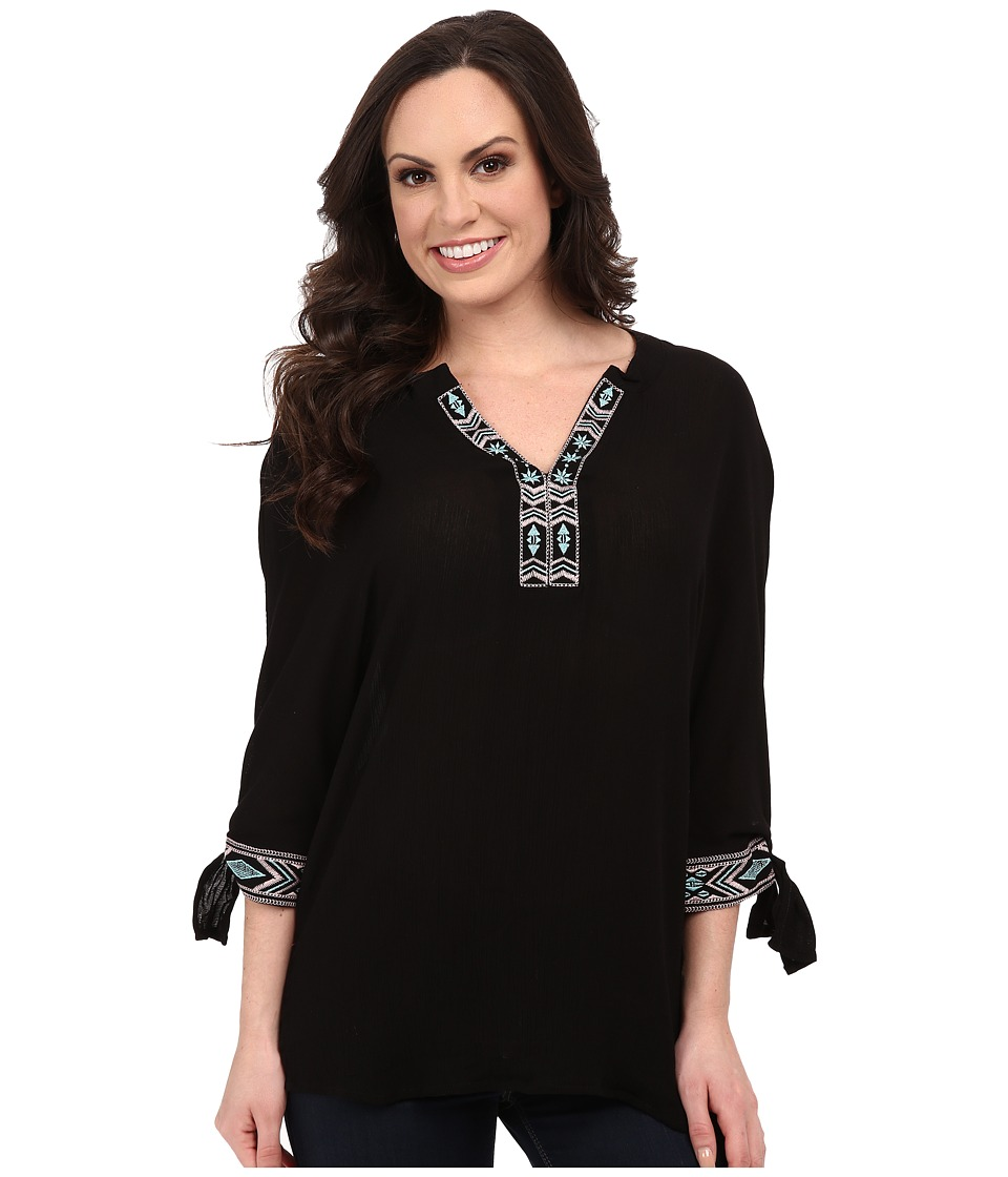 Rock and Roll Cowgirl - 3/4 Sleeve Top B4-5376 (Black) Women's Blouse