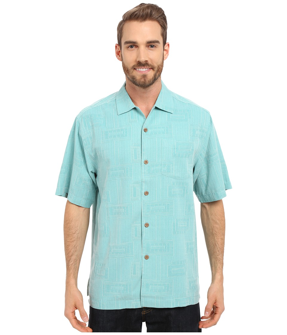 Tommy Bahama - Surfwinds Geo Camp Shirt (Blue Freeze) Men's Short Sleeve Button Up