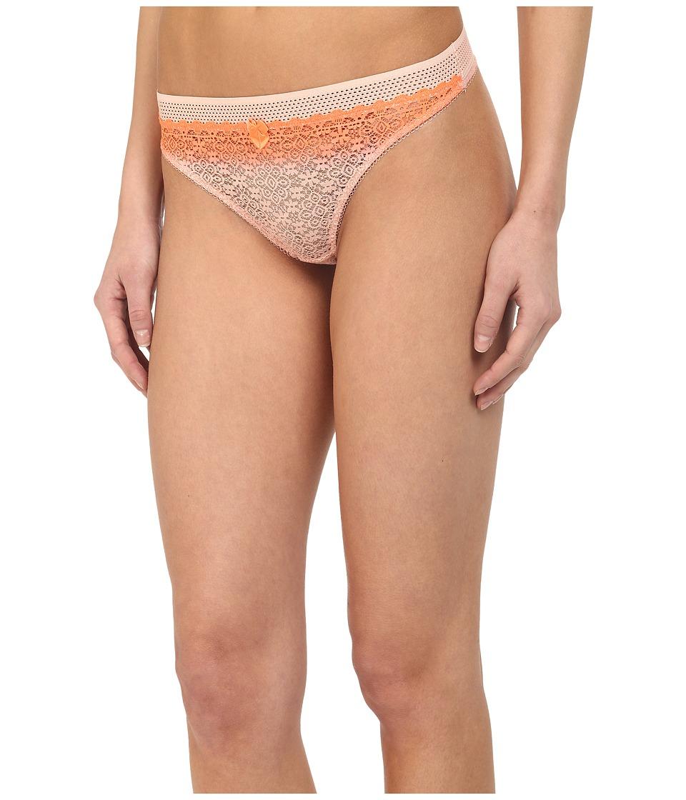 Stella McCartney - Mille Drawing Dip Dye Thong Brief (Fluo Orange/Pink Clay) Women's Underwear