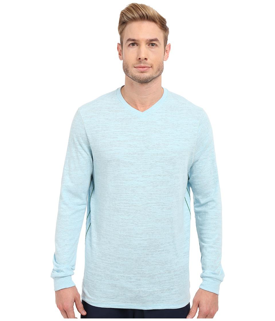 Tommy Bahama - Sundays Best V-Neck Long Sleeve (Spa Blue Heather) Men's Clothing