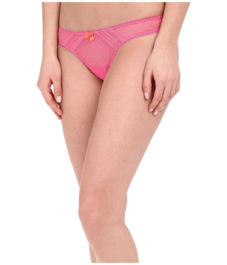 Betsey Johnson - Sheer Flirt Dottie Mesh Thong (Pink Flirt) Women's Underwear
