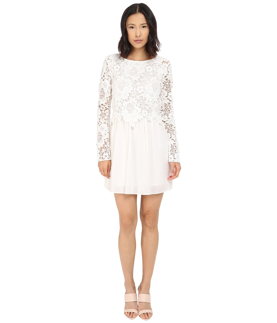See by Chloe - Floral Lace and Cotton Dress (Cloud Dancer) Women's Dress