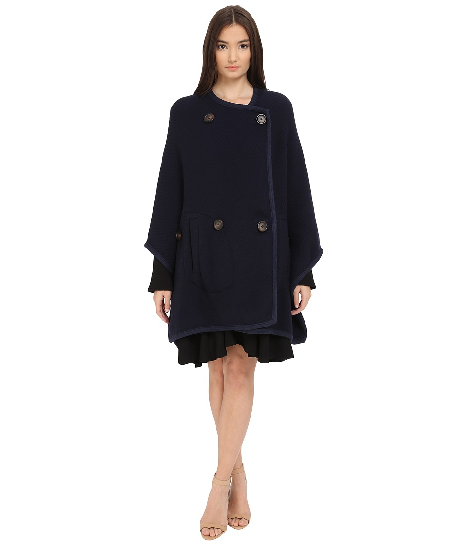 See by Chloe - Soft Textured Coat (Navy) Women's Coat