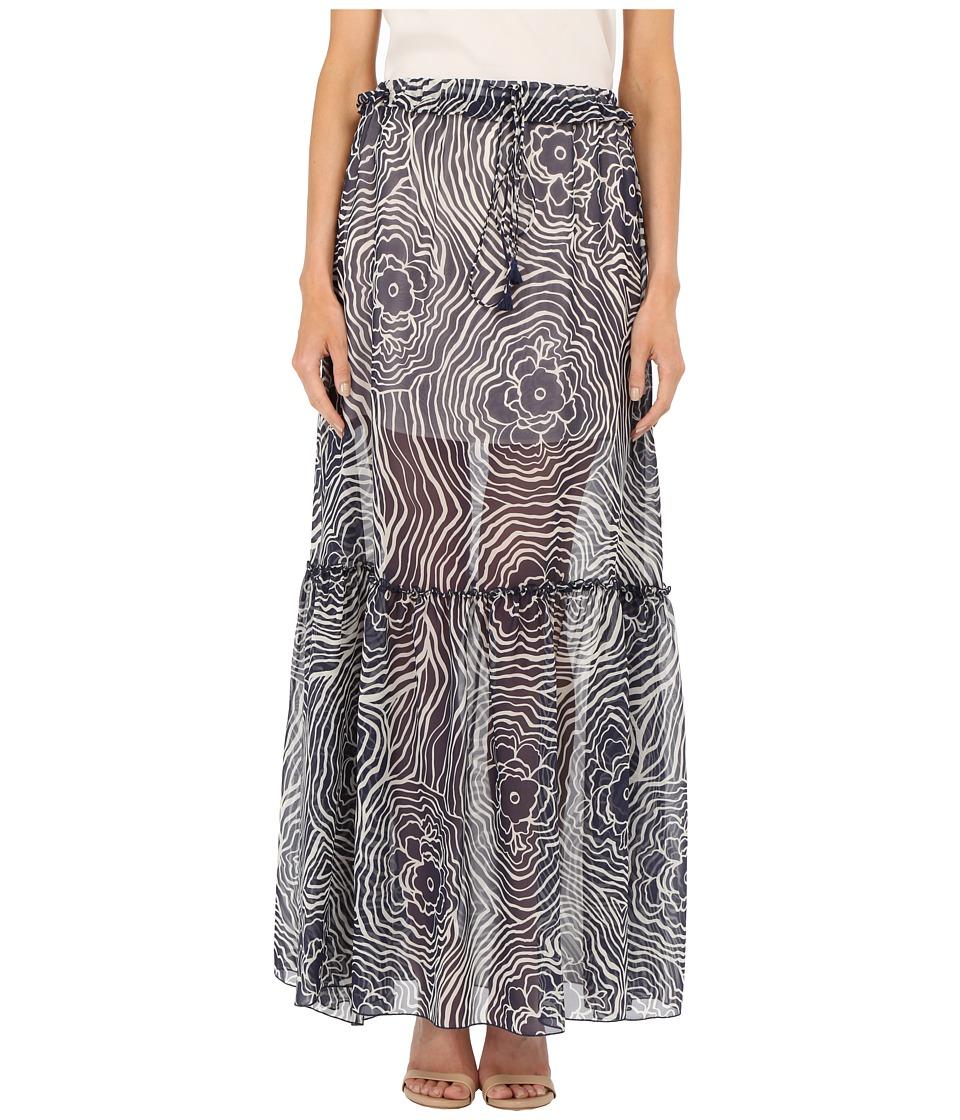 See by Chloe - Floral Waves on Silk Georgette Skirt (Navy) Women's Skirt