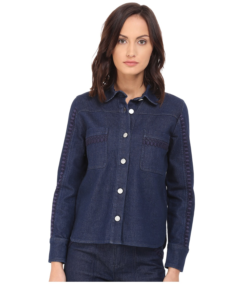 See by Chloe - Embellished Denim Top (Indigo) Women's Long Sleeve Button Up
