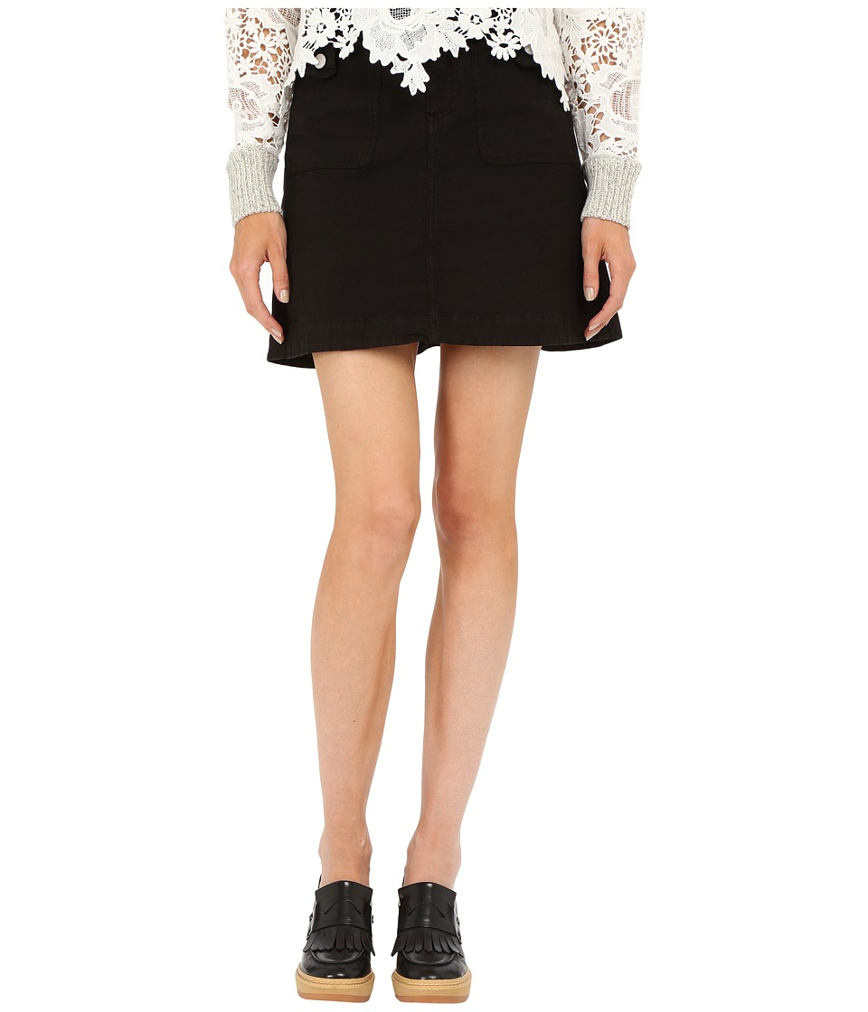 See by Chloe - Cotton and Braids Skirt (Black) Women's Skirt