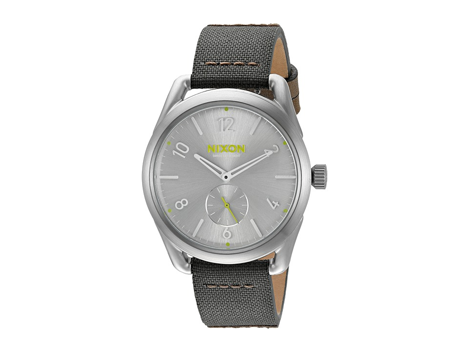 Nixon - C39 Leather (Silver/Surplus) Analog Watches