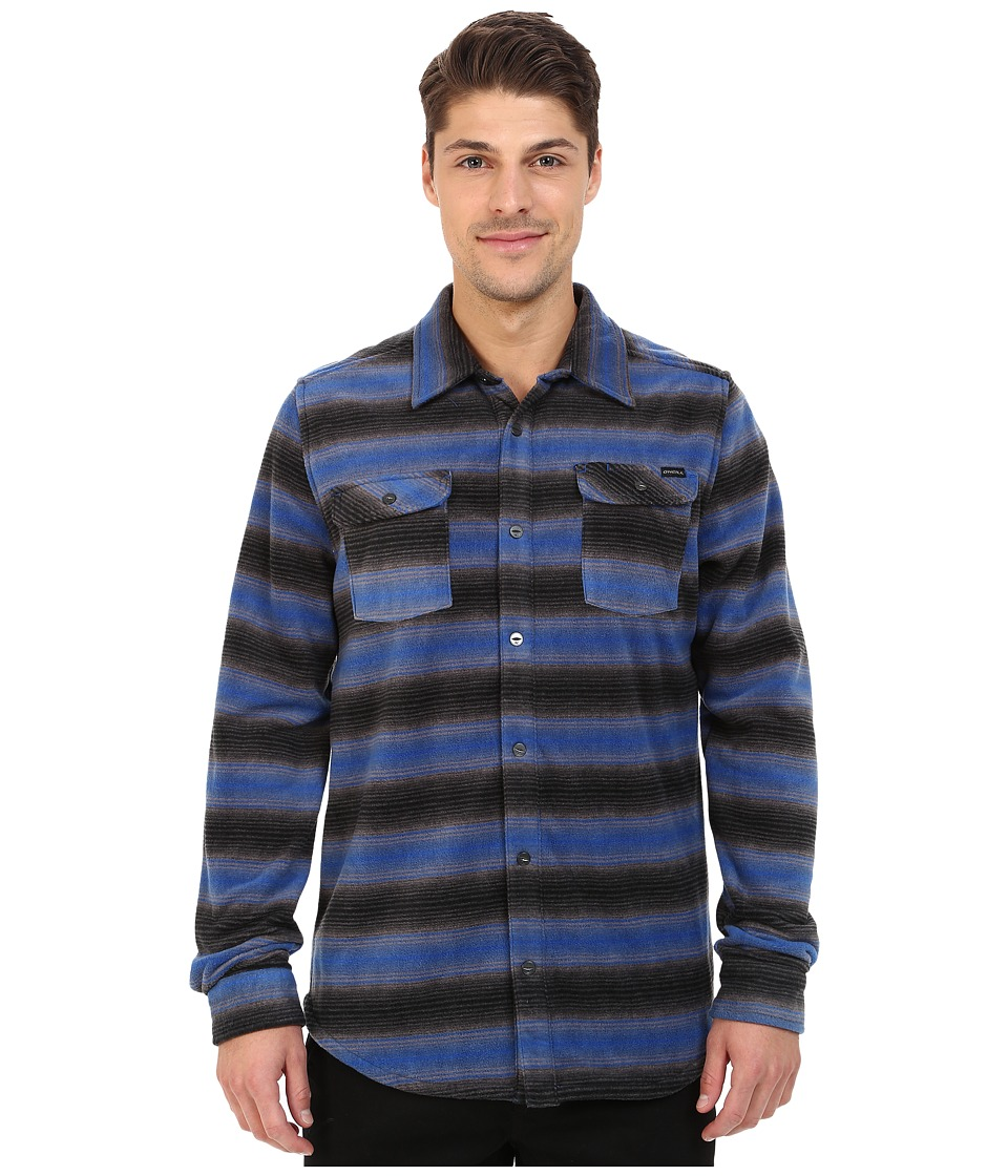 O'Neill - Glacier Stripe Woven Top (Blue) Men's Long Sleeve Button Up