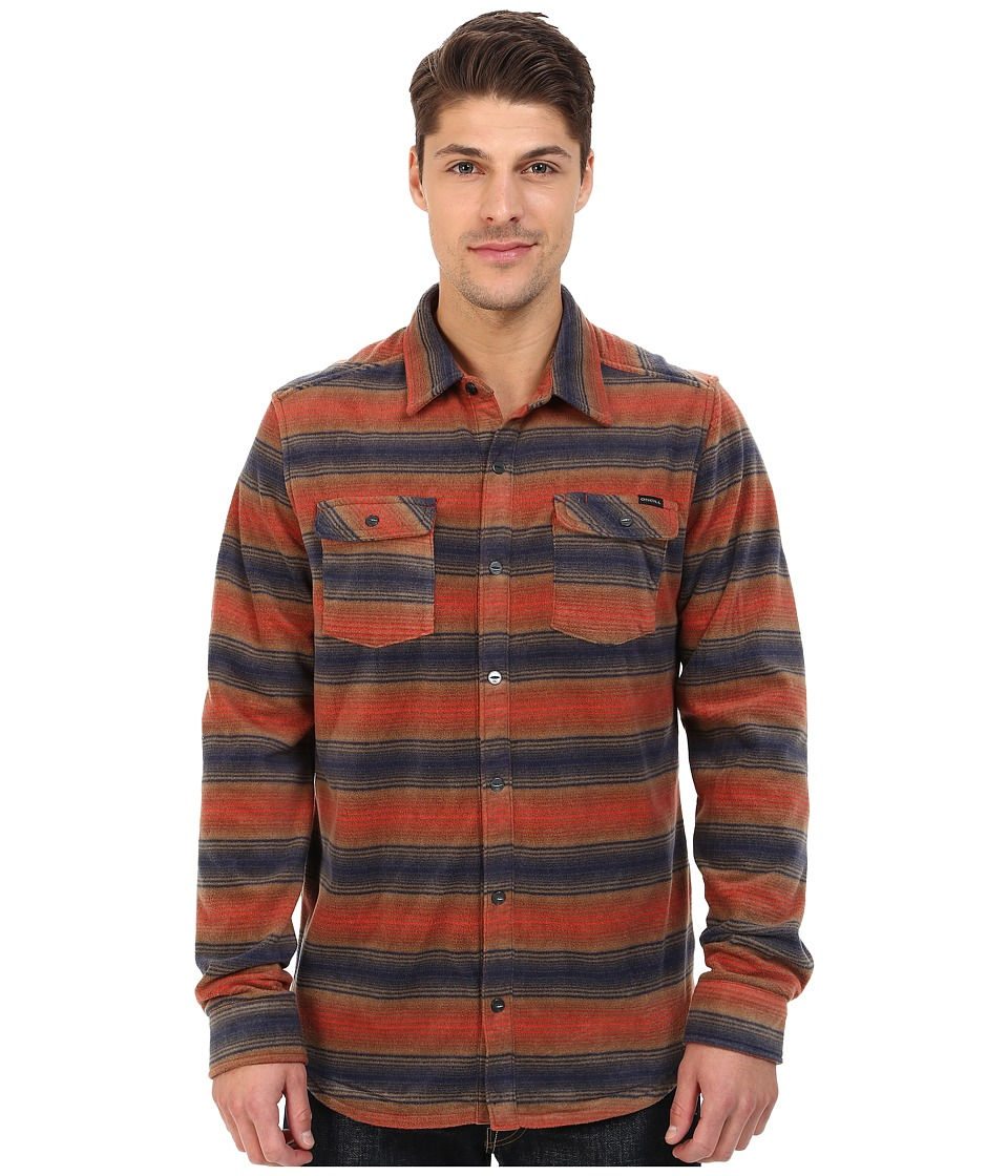 O'Neill - Glacier Stripe Woven Top (Rust Brown) Men's Long Sleeve Button Up