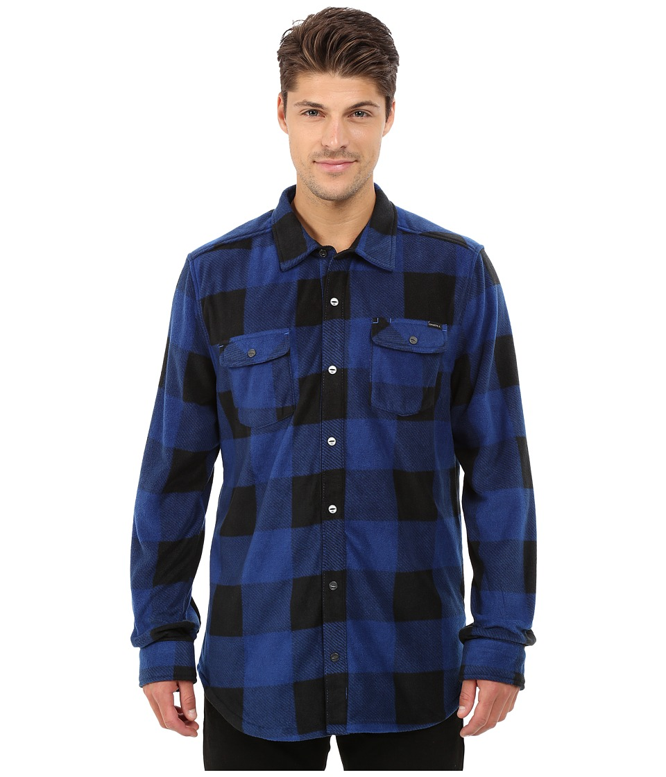 O'Neill - Glacier Check Woven Top (Blue) Men's Long Sleeve Button Up
