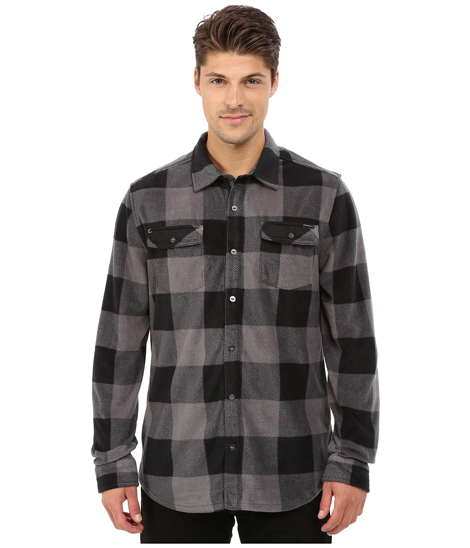 O'Neill - Glacier Check Woven Top (Grey) Men's Long Sleeve Button Up