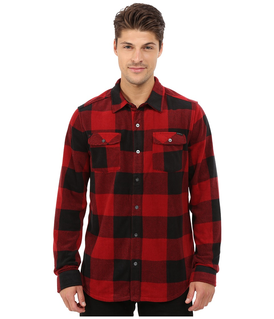 O'Neill - Glacier Check Woven Top (Red) Men's Long Sleeve Button Up