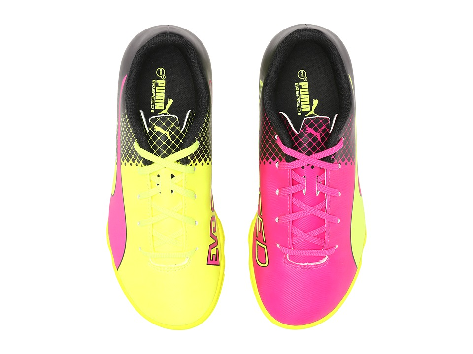 Puma Kids - evoSPEED 5.5 Tricks TT (Little Kid/Big Kid) (Pink Glo/Safety Yellow/Black) Kids Shoes