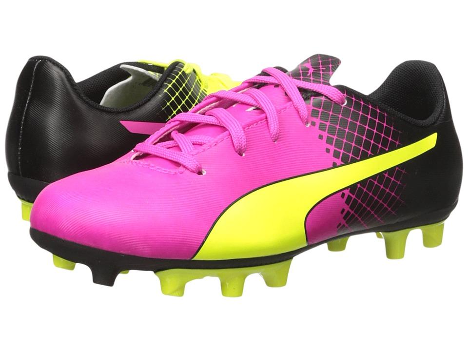 Puma Kids - evoSPEED 5.5 Tricks FG (Little Kid/Big Kid) (Pink Glo/Safety Yellow/Black) Kids Shoes
