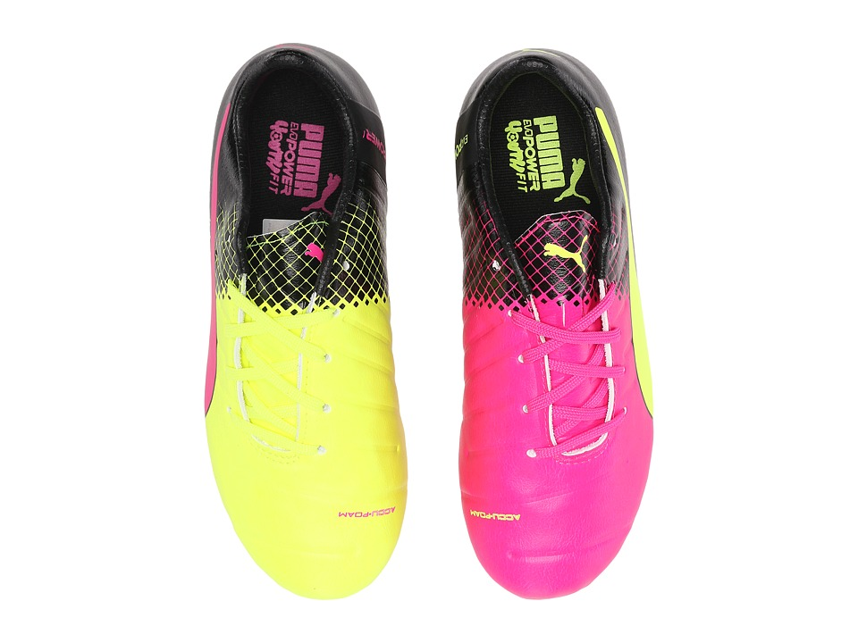 Puma Kids evoPOWER 1.3 Tricks FG Soccer (Little Kid/Big Kid) (Pink Glo/Safety Yellow/Black) Kids Shoes