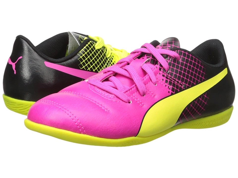 Puma Kids evoPOWER 4.3 Tricks IT (Little Kid/Big Kid) (Pink Glo/Safety Yellow/Black) Kids Shoes