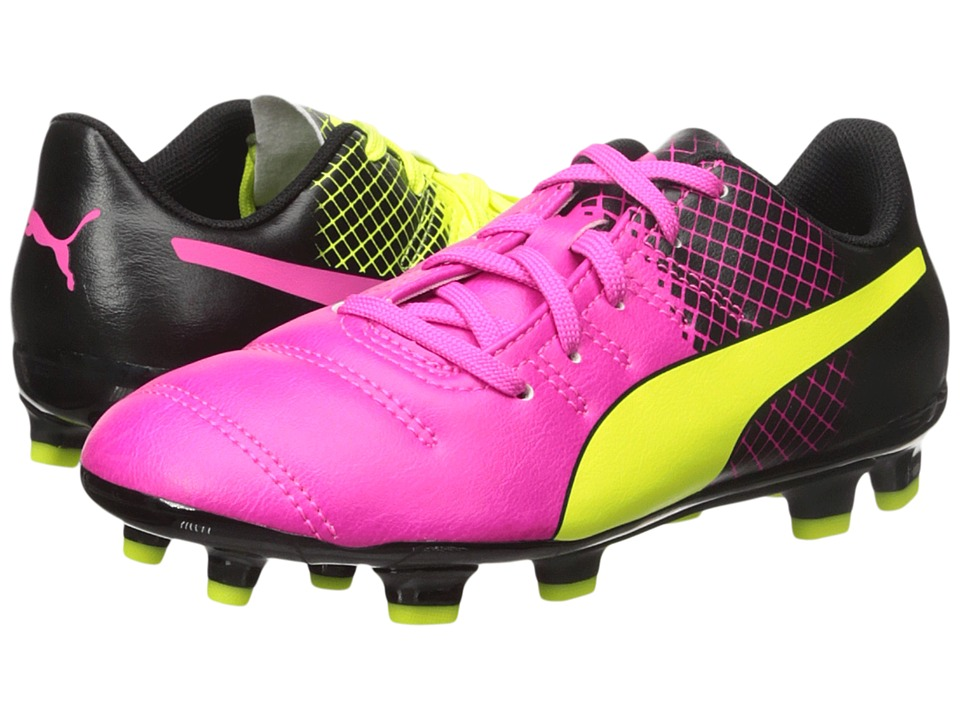 Puma Kids evoPOWER 4.3 Tricks FG (Little Kid/Big Kid) (Pink Glo/Safety Yellow/Black) Kids Shoes
