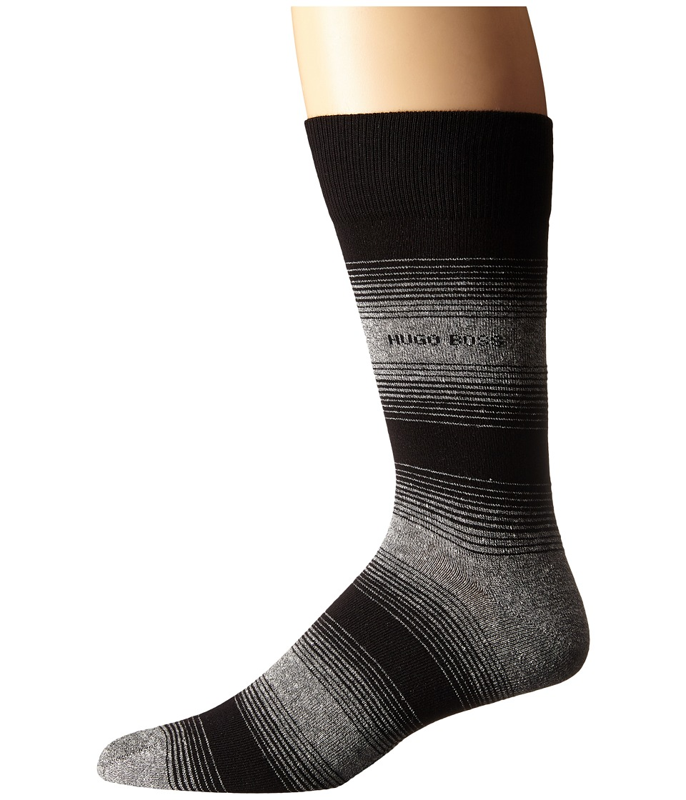 BOSS Hugo Boss - Linen Stripe (Black) Men's Crew Cut Socks Shoes