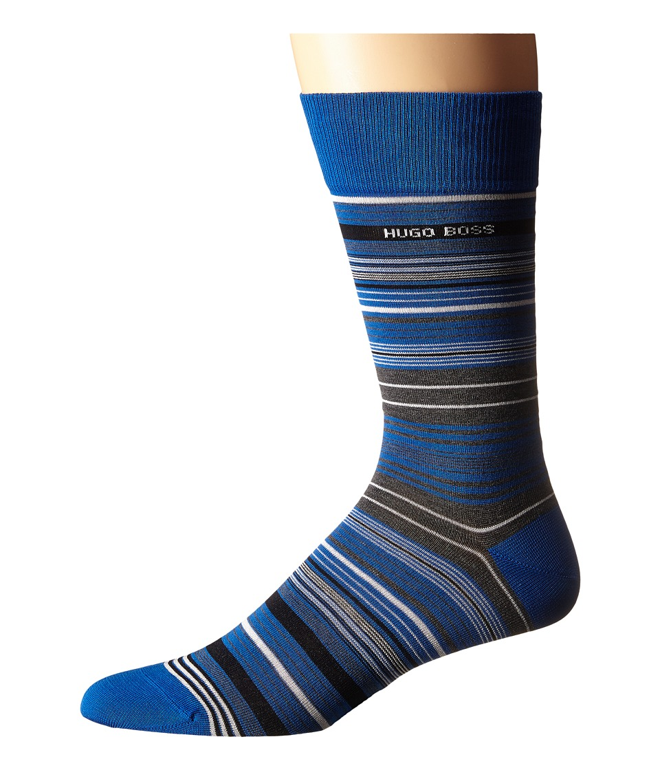 BOSS Hugo Boss - Mercerized Stripe (Royal Blue) Men's Crew Cut Socks Shoes