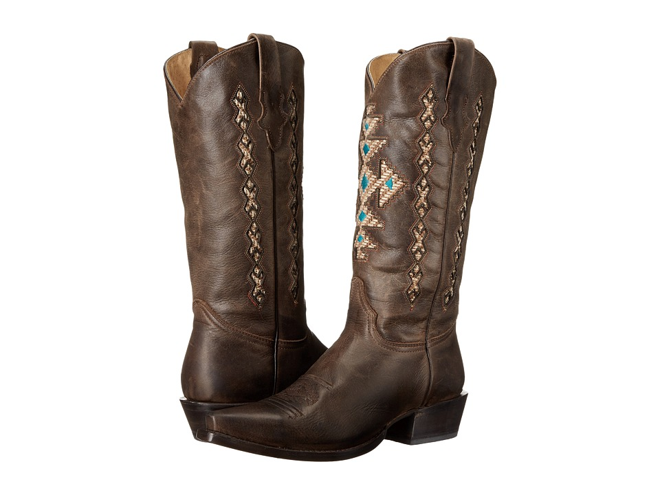 Roper - Cross A Grande Snip Toe (Brown) Cowboy Boots