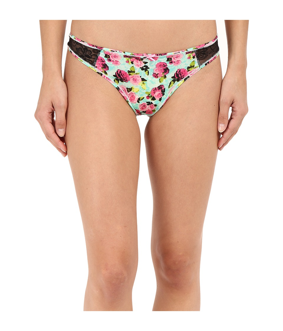 Betsey Johnson - Slinky Knit Lace Thong J2950 (Bunches of Fun) Women's Underwear