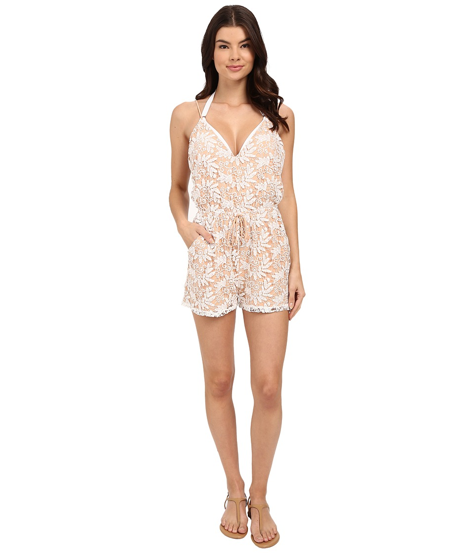 6 Shore Road by Pooja - Weekend Lace Romper Cover-Up (Moonlight) Women's Swimsuits One Piece