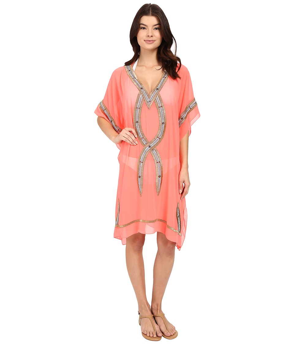 6 Shore Road by Pooja - Beaded Kuna Kaftan Cover-Up (Orange Popscile) Women's Swimwear
