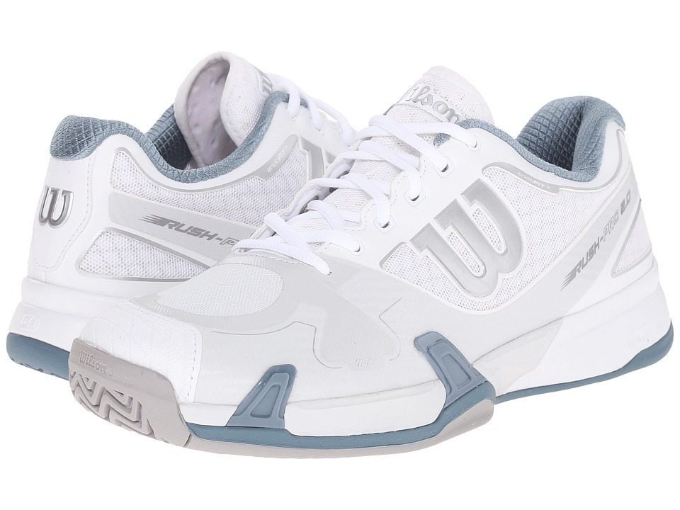 Wilson - Rush Pro 2.0 (White/Ice Gray/Blue) Men's Tennis Shoes