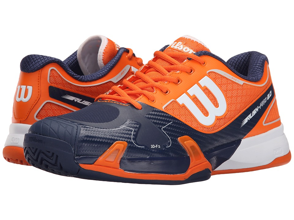 Wilson - Rush Pro 2.0 (Clementine/Navy/White) Men's Tennis Shoes