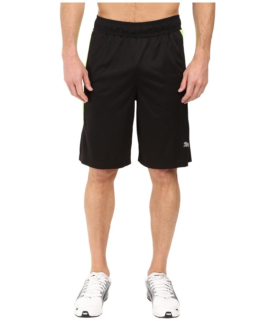 PUMA - Knit Colorblock Shorts (Black/Green Gecko) Men's Shorts
