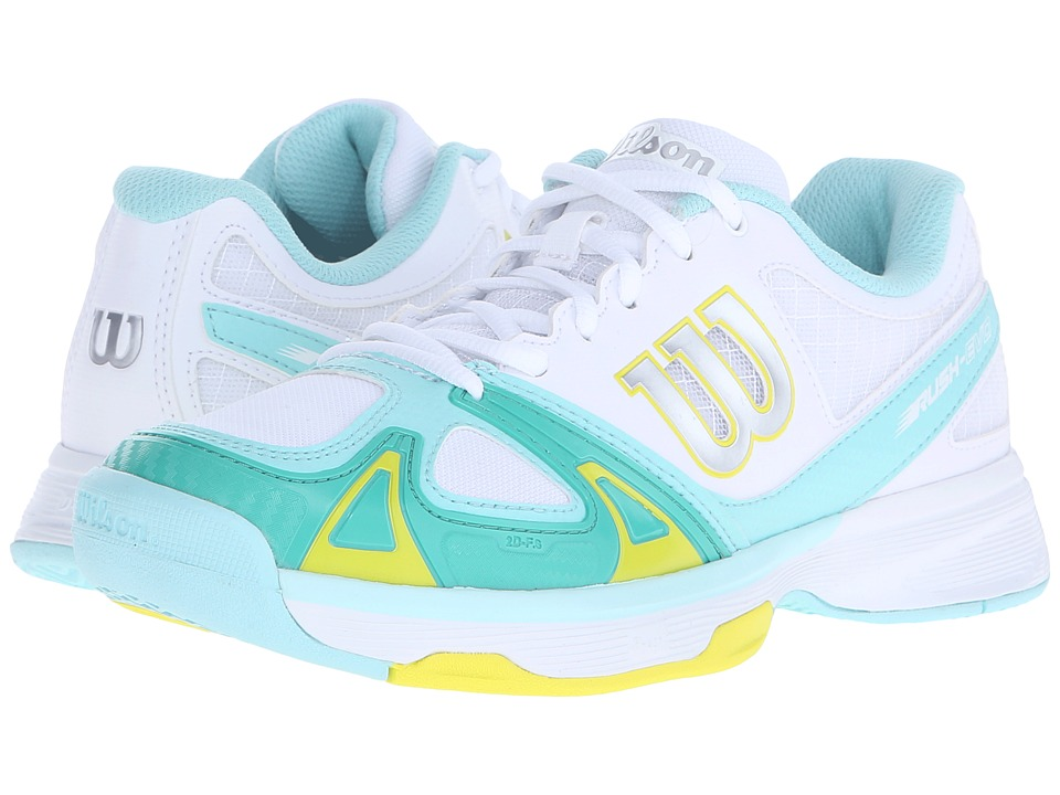 Wilson - Rush Evo (White/Aruba Blue/Yellow) Women's Tennis Shoes