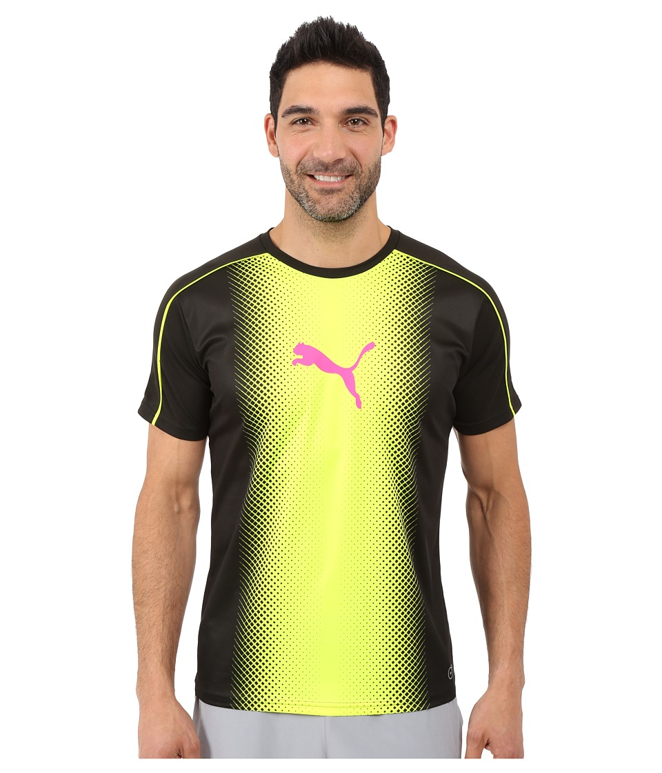 PUMA - IT evoTRG Cat Graphic Tee (Black/Safety Yellow) Men's T Shirt