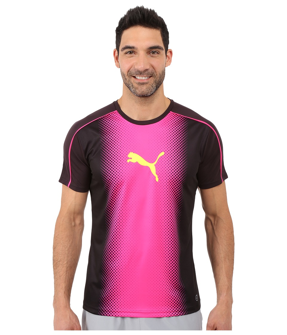 PUMA - IT evoTRG Cat Graphic Tee (Black/Pink Glo) Men's T Shirt