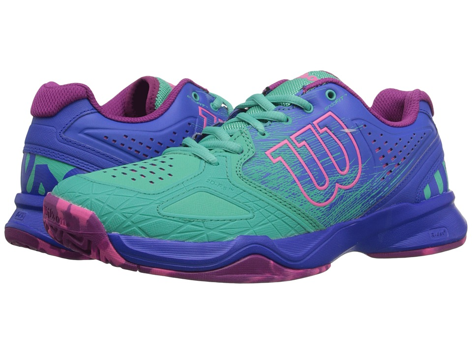Wilson - Kaos Comp (Aquagreen/Blue Iris/Pink) Women's Tennis Shoes