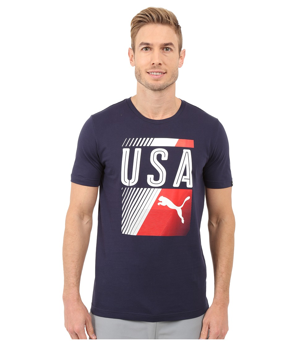 PUMA - Olympic Fan Tee (Peacoat/USA) Men's T Shirt